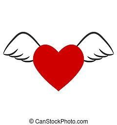 red heart with wings for Valentine`s Day, stock vector illustration