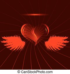 Red heart with wings
