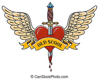 Red heart with wings pierced with ancient dagger. Tatoo dagger piercing flying heart with dripping blood. Old school