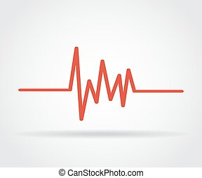 Red heartbeat icon with shadow on a gray background