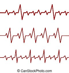 Red heartbeat line, ekg, cardio line, stock vector ...