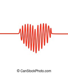 Red heartbeat line in a shape of heart on white background....