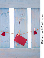Red hearts and a message card