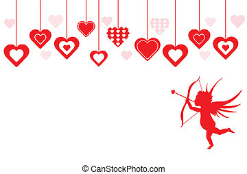 Red Hearts and Cupid