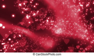Red Hearts and Particles Looping romantic animated...