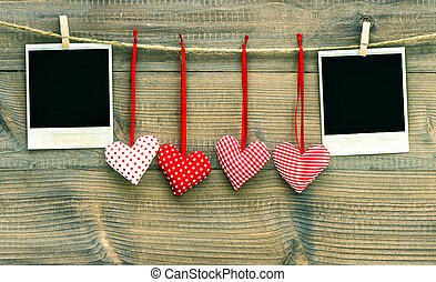 Red hearts and vintage photo frames. Valentines Day