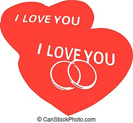red hearts and wedding rings on a white background