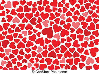 Red hearts background on white