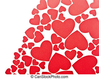 red hearts background on white with copy space