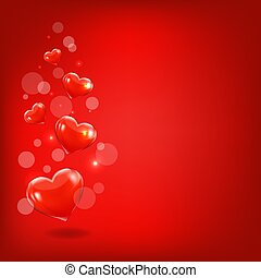 Red Hearts Background With Bokeh