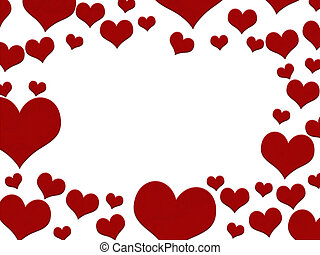 Red hearts border isolated over white