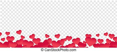 Red Hearts Border Isolated Transparent Background