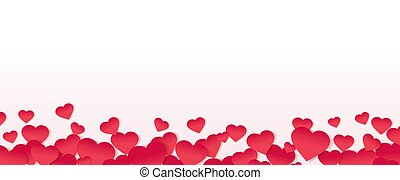 Red Hearts Border Isolated White Background
