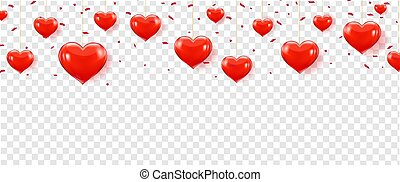 Red Hearts Border Isolated With Transparent Background