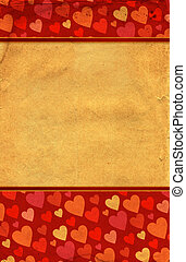 red hearts border on old grunge paper
