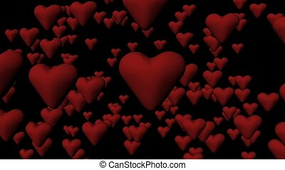 Red hearts comig to the screen - Animation of red hearts...