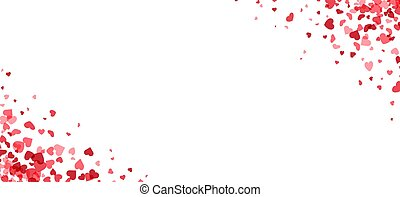 Red hearts confetti frame on white background.