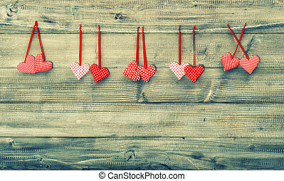 Red hearts couples. Valentines Day concept. Instagram style...