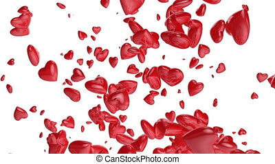 Red hearts flying up