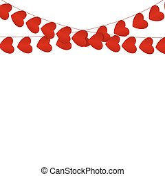 Red hearts garlands on white. Valentines day card