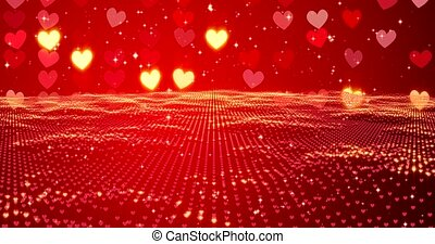 Red hearts. Happy Valentines day background. 3D rendering. -...
