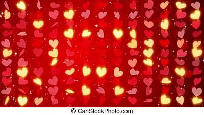 Red hearts. Happy Valentines day seamless loop background..