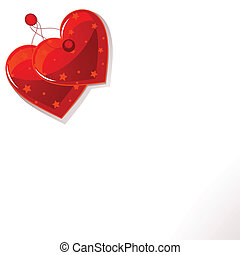 Red hearts - Page corner with red two hearts label. Place...