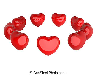 Red hearts in a circle