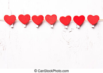 Red hearts in a row