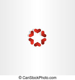 red hearts in circle sign vector icon love