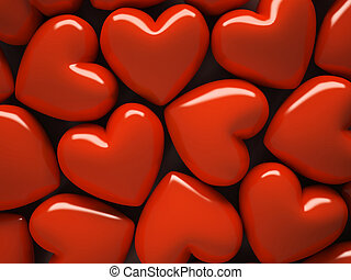 Red hearts isolated on background