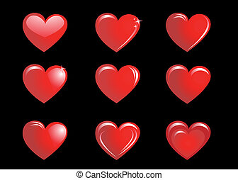 Red hearts on a black background, collection