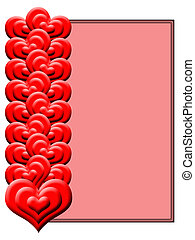 Red hearts on a pink background