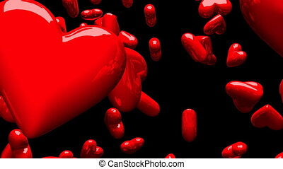 Red hearts on black background