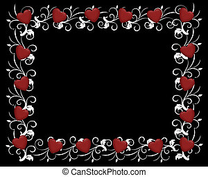Red Hearts on Black Invitation - 3D Red hearts Design...