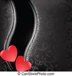 Red hearts on black - two glossy red hearts on a black...