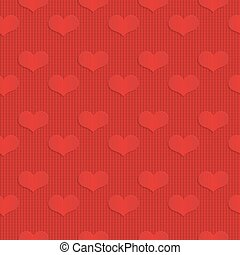 Red hearts on checkered background