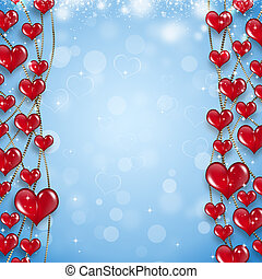 Red Hearts on Golden Chain