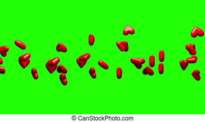 Red hearts on green chroma key. Loop able 3DCG render...