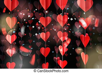 Red hearts on rope. Vector illustration