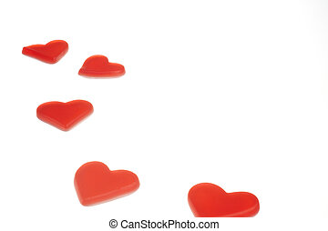 Red hearts on white background