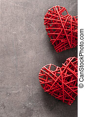 red hearts over wooden background for Valentines day
