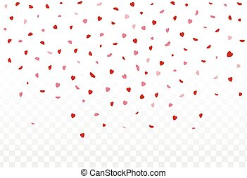 Red hearts petals falling on white background for Valentine'...