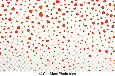 Red hearts petals falling on white background for Valentine's Day