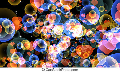 red hearts random size with gold and dark blue bubbles floating on black background