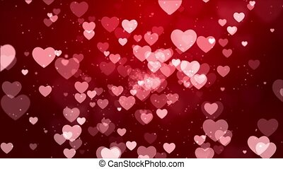 Red hearts rising up falling love sweet Romantic Loop Animation Background.