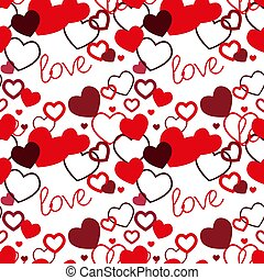Red hearts seamless pattern. Valentine s day vector. Vector illustration. Hand drawn background. Template illustrated background for design card, gift paper, textile.