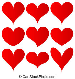 red hearts set for wedding and valentine design