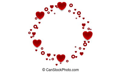 Red hearts St Valentines Day abstract video animation
