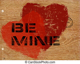 Red hearts stenciled on oak wood background with message:  BE MINE
